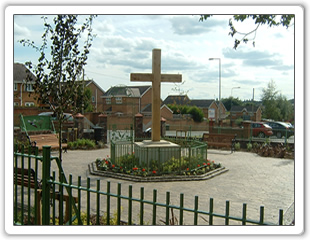 Stubshaw Cross Heritage Garden - the cross